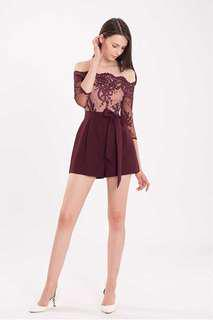 Doublewoot Deriley Off Shoulder Embroidered Lace Romper Playsuit Jumpsuit