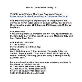 How To Order? How To Pay? #BicycleEnthusiastBikeshop #Trinx #Phantom #Keysto #Totem #Bianchi
