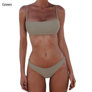 INSTOCK Green Basic Bikini Set
