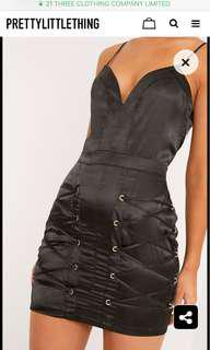 BNWT Black Satin Lace Up Tight Mini Dress