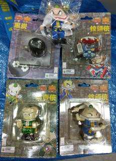 绝版TVB日本漫畫,炒飯俠拉麵俠燒賣俠黑炭 wind-up toys 上鏈行路公仔 一套(送炒飯俠布公仔一個)