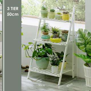 #postforsbux [Ready Stock] 3-Tier Bamboo Wood Foldable Multi-functional Shelf / Rack / Flower Plant Stand