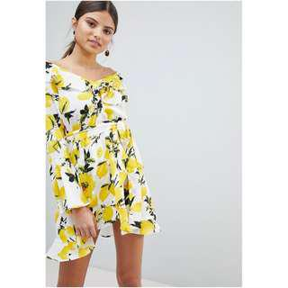 Boohoo Off Shoulder Lemon Print Dress