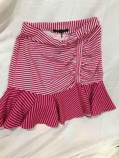Stripes frilled skirt