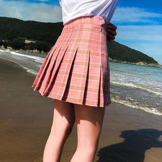 🚚 粉色百摺裙 有內裡 s碼