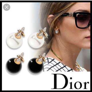 Dior Style Double Earring Black Pearl and Crystal Diamond #letgo80