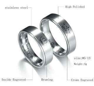 Couple ring Silver colour free engravement