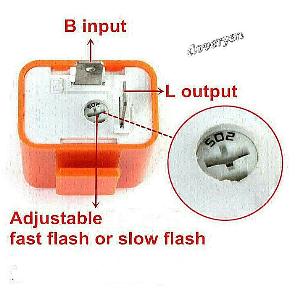 2 Pin Motorcycle LED signal Relay Condenser Orange Housing , ★Fix / Solve  Fast / Hyperflash, Blinking Rate For Led Signal, Light Indicator / Bulb,