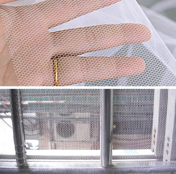 2 Packs Idealeben Window Insect Screen Net Mesh Fly Bug Mosquito Protector Kit 1.3m x 1.5m with 3 Rolls Self-adhesive Tapes White