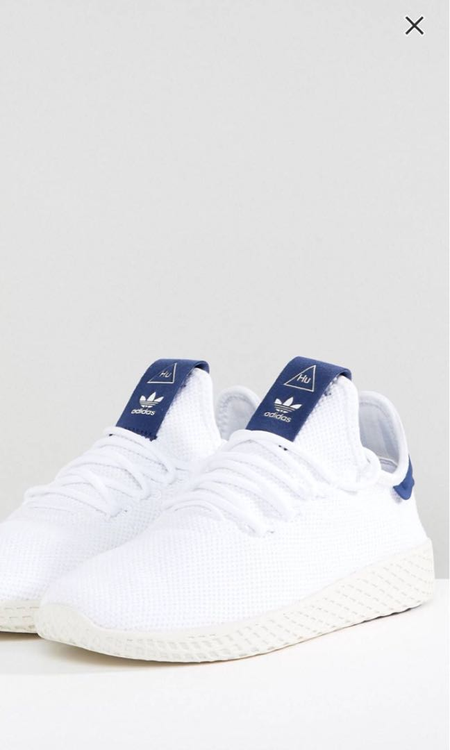 26588ab55 adidas originals pharrell williams tennis hu trainers white and blue ...