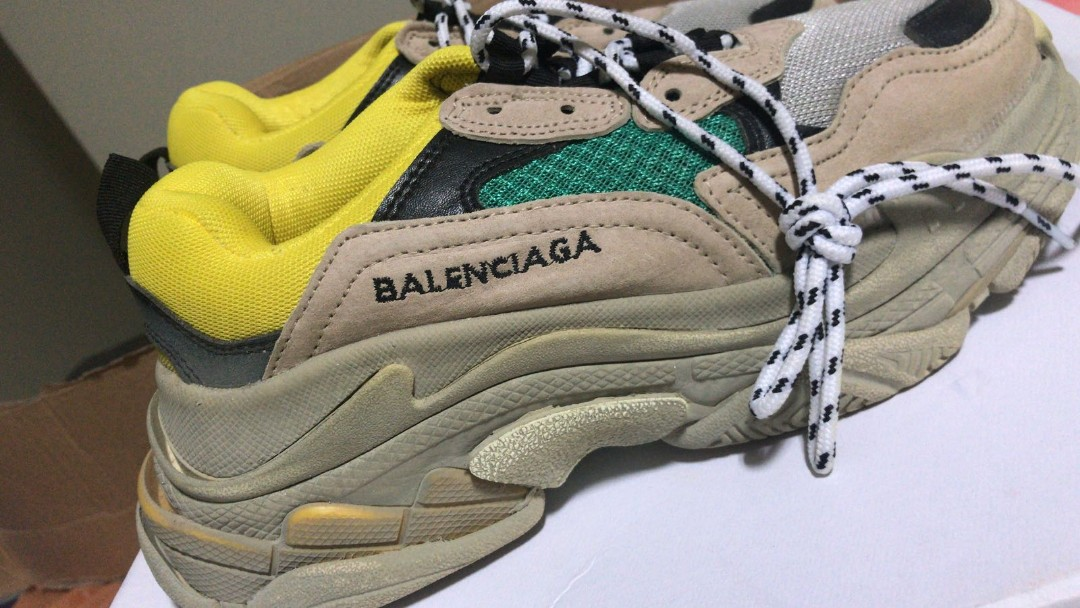 5af29c6b20476 Balenciaga triple S beige green yellow, Women's Fashion, Shoes, Sneakers on  Carousell
