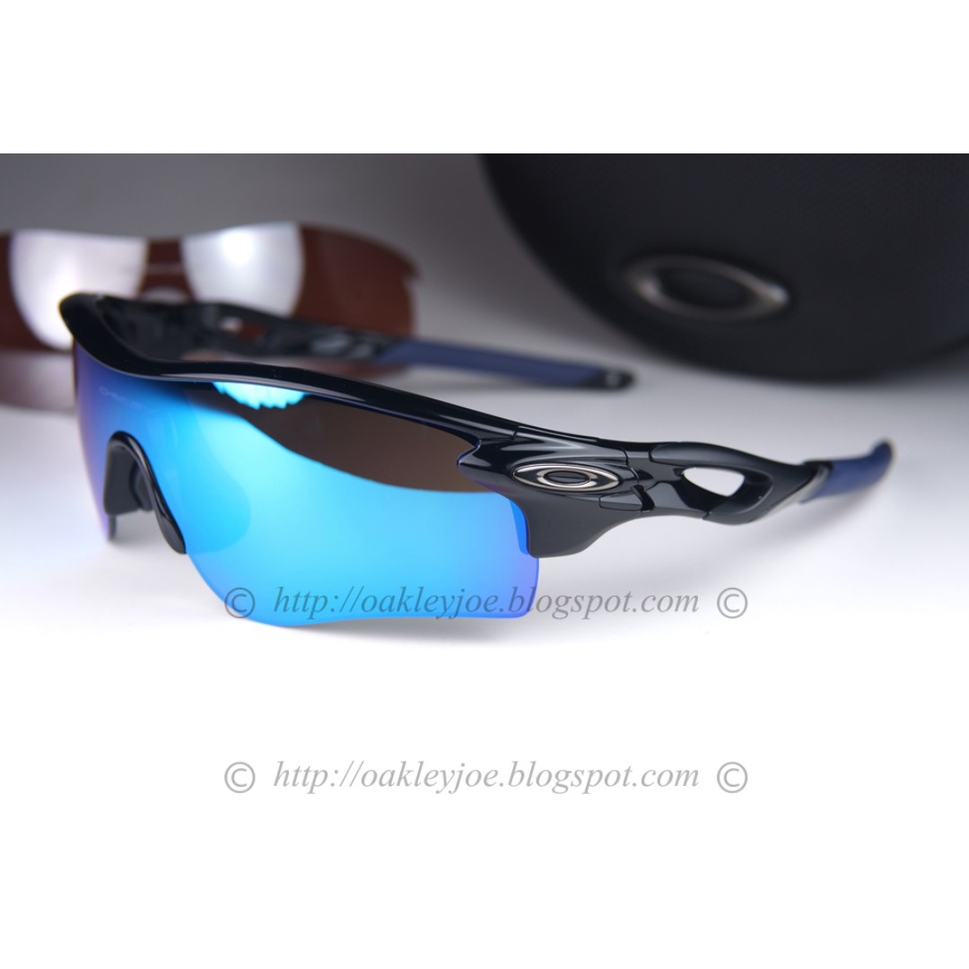 4568502f0a6 BNIB Oakley Radarlock Path Custom polished black + sapphire iridium + black  iridium sunglass shades