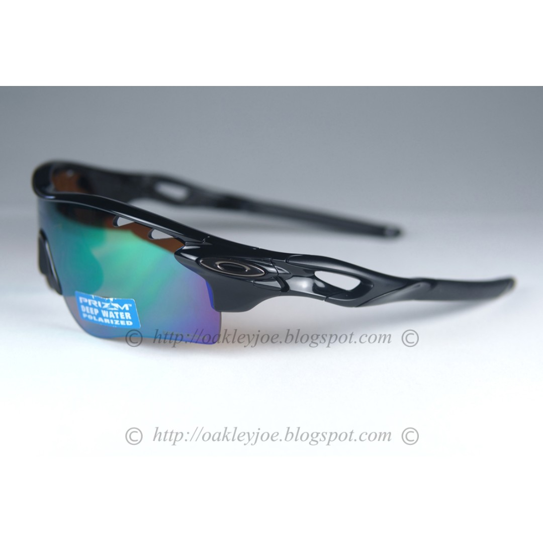 7144c8cb9b5 BNIB Oakley Radarlock Path Custom polished black + shallow blue prizm  polarized + persimmon lens sunglass shades