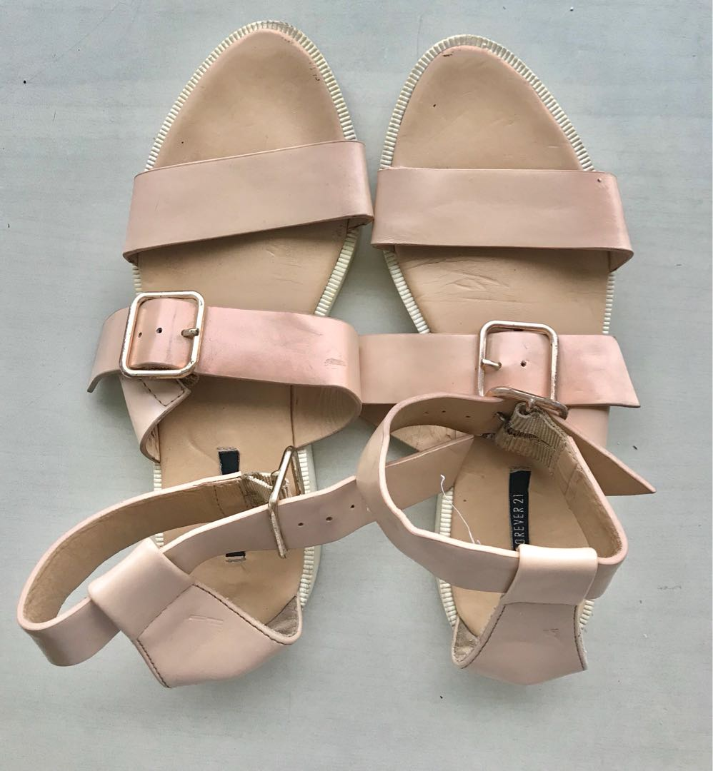 Forever 21 beige buckle strappy white platform sandals df661a6d62