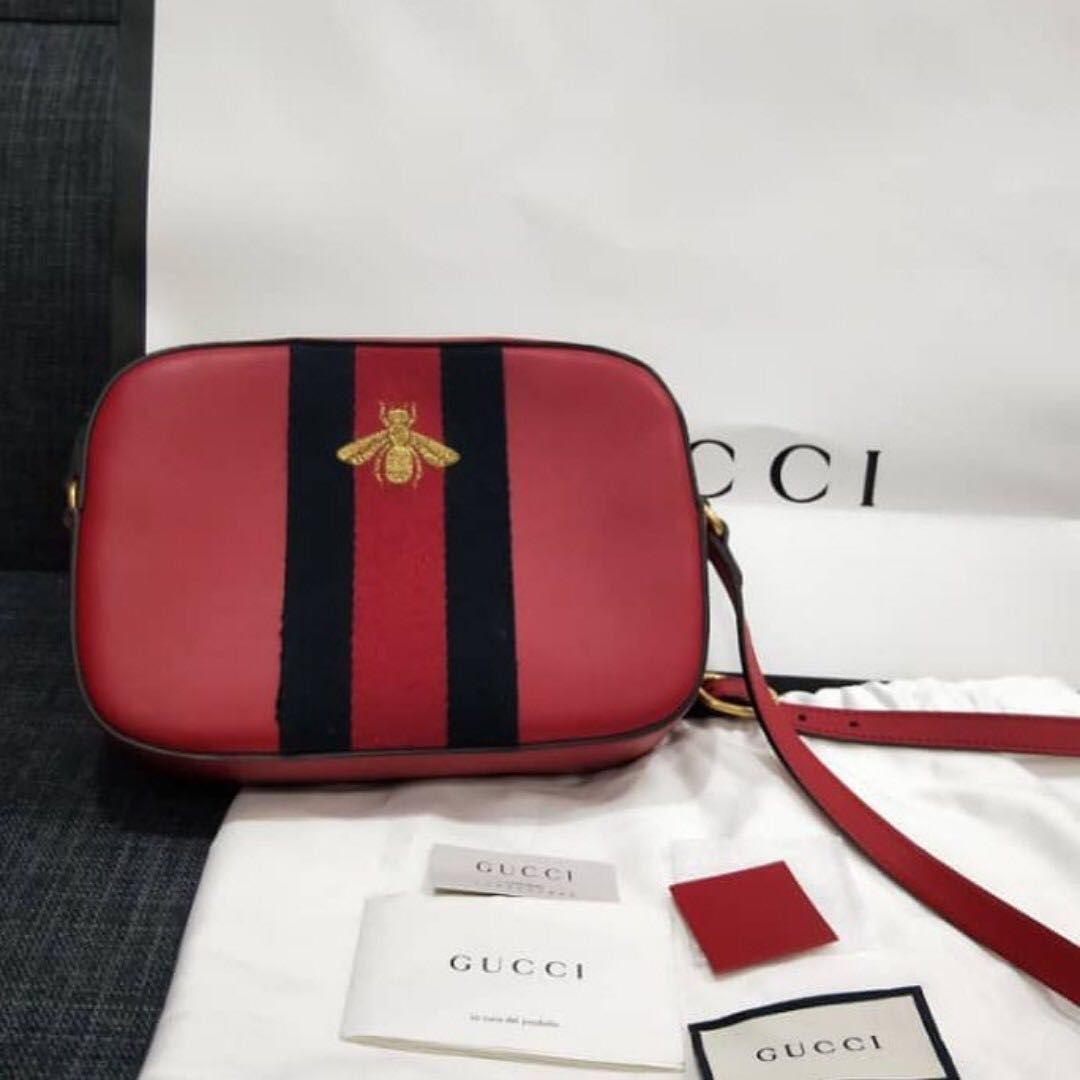 caa452dcc14 Gucci Bee Leather Sling Bag in Red
