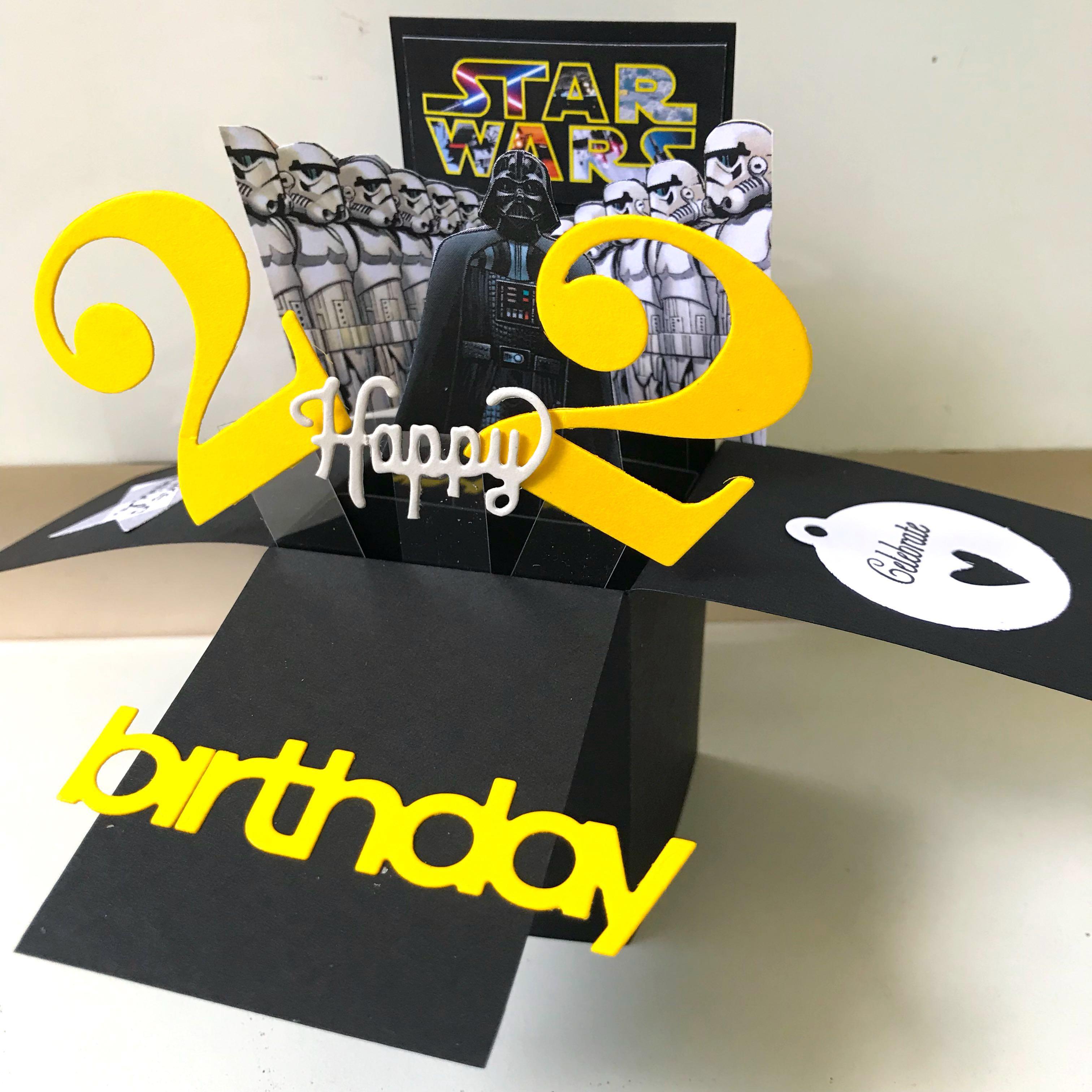 Happy 22 Birthday Pop Up Card Starwar Theme Design Craft