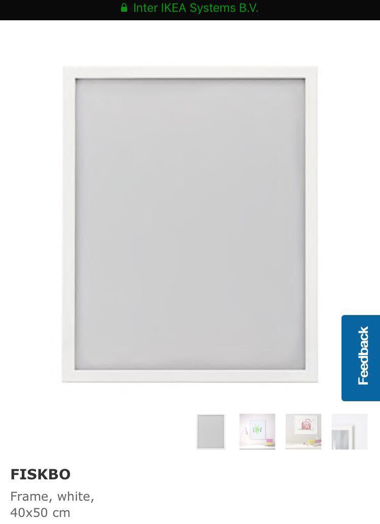 Ikea Large Photo Frame Fiskbo 40x50cm White, Furniture, Home Decor ...