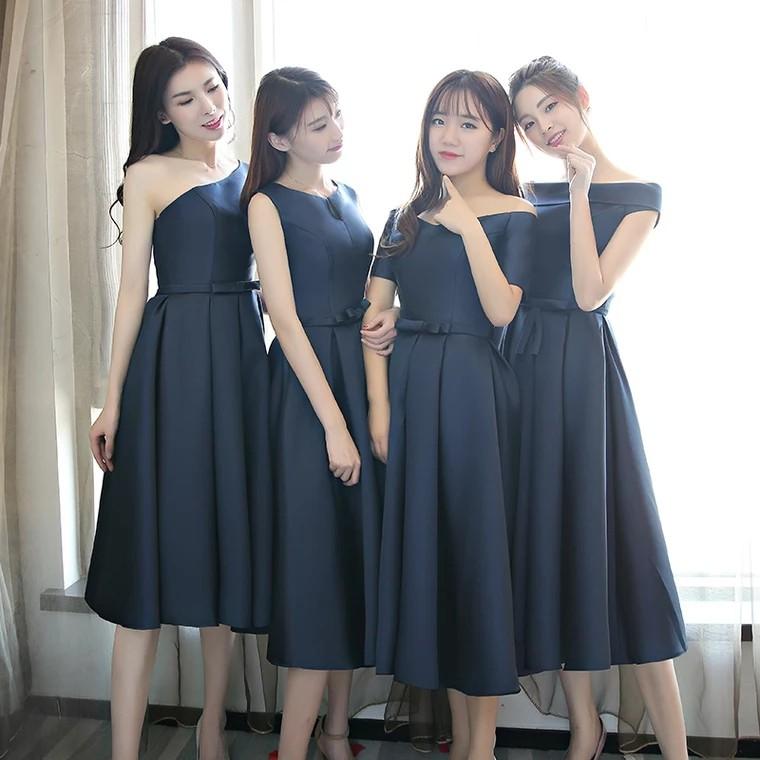 a1a263efa46ba  Navy Blue  Bridesmaid Sleeveless   Off Shoulder   Halter   Toga   Short  Sleeves Dress