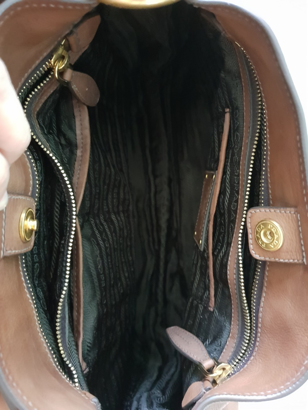 f58dc55d47 ... order preloved authentic prada sacca glace calf zippers shoulder bag  argilla luxury bags wallets handbags on