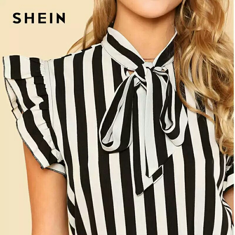 7660c9976f6325 SHEIN Summer Top Elegant Work Women Blouses Cap Sleeve Black and ...