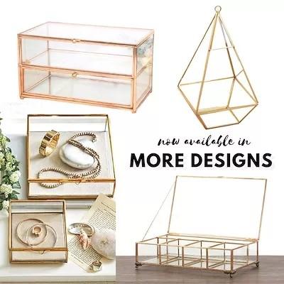 Dilas Home Vintage Brass Terrarium Display Tray Glass Box Design