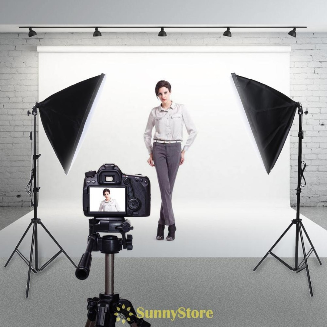 White Background + Continuous Studio Softbox Lighting Kit (Receive A Free Camera Tripod w/ Purchase)