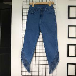 Trendy Pants Fitted Maong Ruffled Tassel Jeans