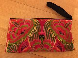 New embroidered handcrafted clutch bag - RED