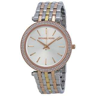 DARCI SILVER DIAL TRI-TONE STAINLESS STEEL LADIES WATCH MK3203