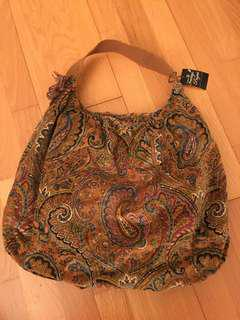 Brand new paisley dots cotton tote bag