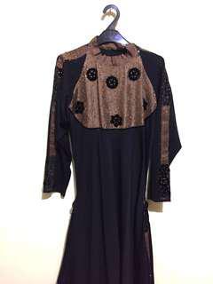 BROWN BACK LONG DRESS