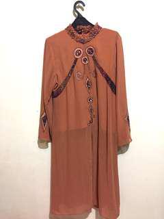 NUDE BROWN LONG DRESS
