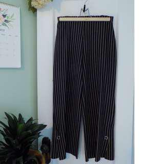 Navy/Beige Striped Pants