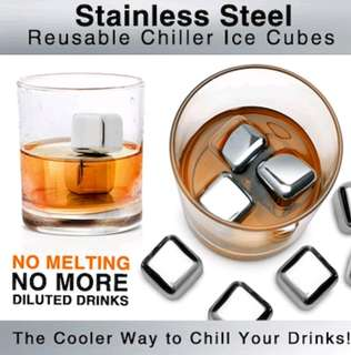 Stainless steel reusable ice cubes with box and tong