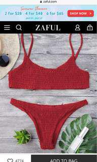 BNWT Zaful smocked bikini set