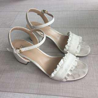 White Suede Ruffle Sandals