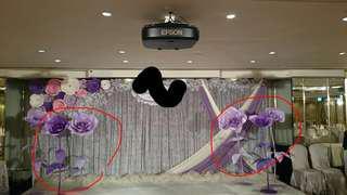 紫色卡紙花 婚禮佈置