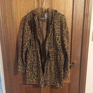 Leopard Print Coat - Size 10