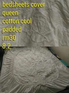 bedsheets cover / sarung fitted size QUEEN white colour