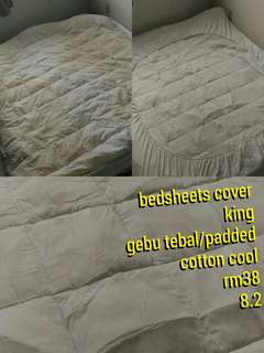 bedsheets cover / sarung fitted size king white colour