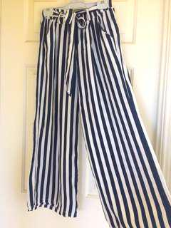 Navy Stripe Tie Pants