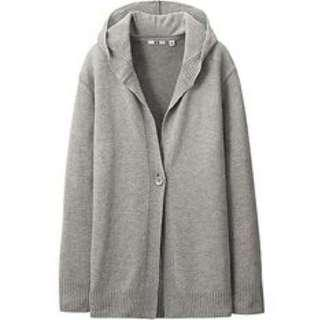 Uniqlo Grey Cashmere Blend Long Cardigan with hood