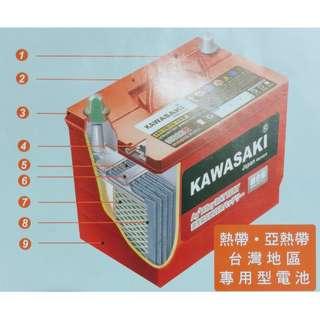 (請先詢價) KAWASAKI 紅版 銀鈣合金 56077歐規 汽車電池 DIN60 PRO
