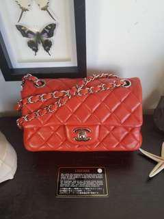 Chanel orange red rectangular mini