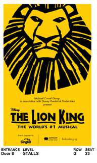 The Lion King (2 tickets) - Thursday 26th July