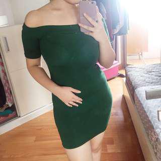 Green sabrina dress