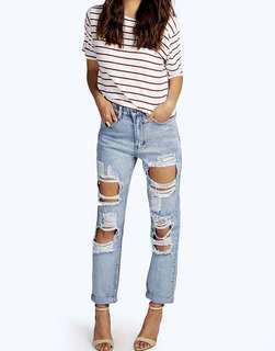 Light Blue Ripped Boyfriend Jeans Size 8
