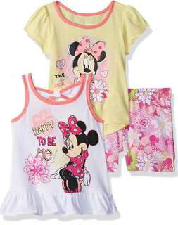 Baby Girls Minnie Mouse 3 Piece Short Set