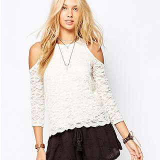 Hollister lace cold shoulder top