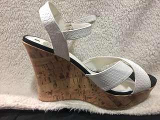 White Summery Wedge Heels